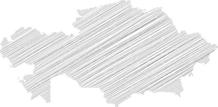 Kazakhstan - pencil scribble sketch silhouette map of country area with dropped shadow. Simple flat vector illustration
