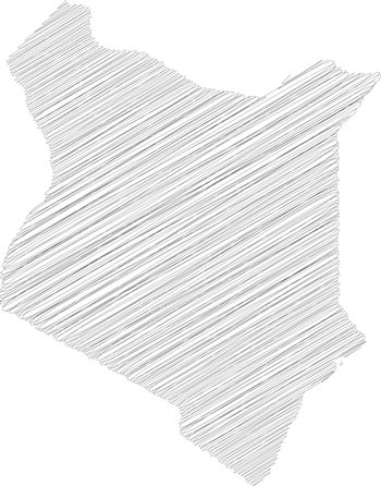 Kenya - pencil scribble sketch silhouette map of country area with dropped shadow. Simple flat vector illustration