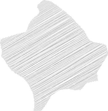 Kosovo - pencil scribble sketch silhouette map of country area with dropped shadow. Simple flat vector illustration