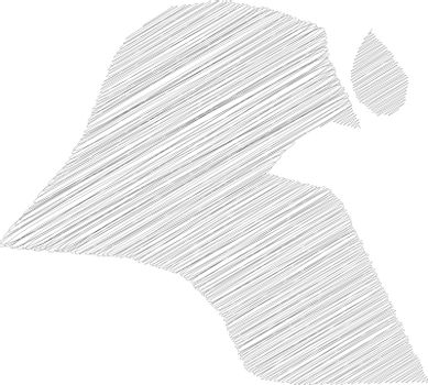 Kuwait - pencil scribble sketch silhouette map of country area with dropped shadow. Simple flat vector illustration