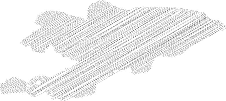 Kyrgyzstan - pencil scribble sketch silhouette map of country area with dropped shadow. Simple flat vector illustration