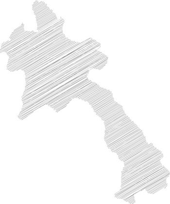 Laos - pencil scribble sketch silhouette map of country area with dropped shadow. Simple flat vector illustration