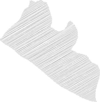 Liberia - pencil scribble sketch silhouette map of country area with dropped shadow. Simple flat vector illustration