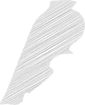 Lebanon - pencil scribble sketch silhouette map of country area with dropped shadow. Simple flat vector illustration