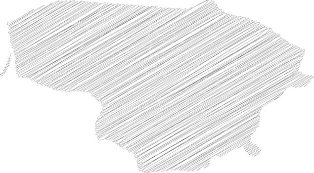 Lithuania - pencil scribble sketch silhouette map of country area with dropped shadow. Simple flat vector illustration