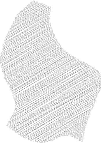 Luxembourg - pencil scribble sketch silhouette map of country area with dropped shadow. Simple flat vector illustration