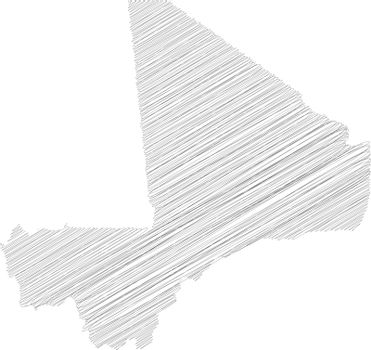 Mali - pencil scribble sketch silhouette map of country area with dropped shadow. Simple flat vector illustration