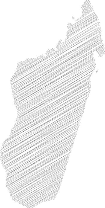 Madagascar - pencil scribble sketch silhouette map of country area with dropped shadow. Simple flat vector illustration