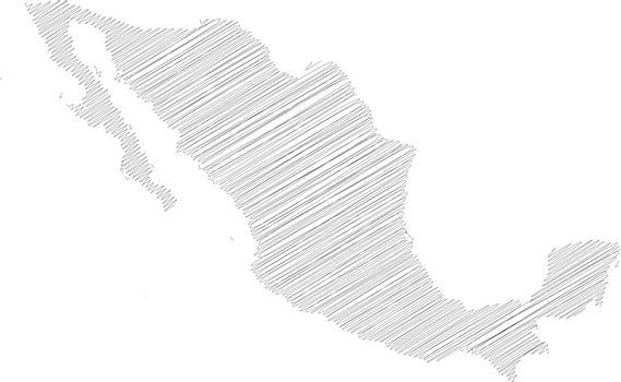 Mexico - pencil scribble sketch silhouette map of country area with dropped shadow. Simple flat vector illustration