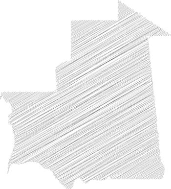 Mauritania - pencil scribble sketch silhouette map of country area with dropped shadow. Simple flat vector illustration