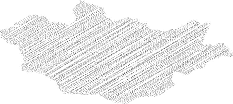 Mongolia - pencil scribble sketch silhouette map of country area with dropped shadow. Simple flat vector illustration