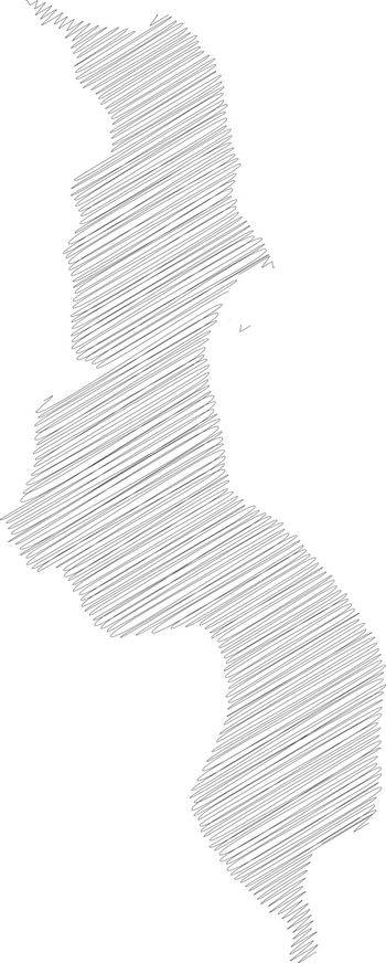 Malawi - pencil scribble sketch silhouette map of country area with dropped shadow. Simple flat vector illustration