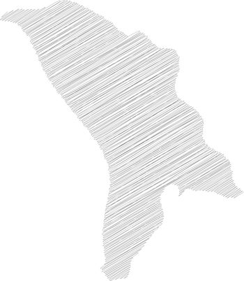 Moldova - pencil scribble sketch silhouette map of country area with dropped shadow. Simple flat vector illustration