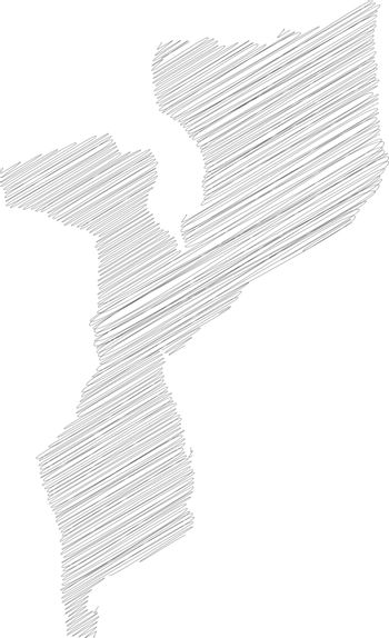 Mozambique - pencil scribble sketch silhouette map of country area with dropped shadow. Simple flat vector illustration