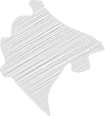 Montenegro - pencil scribble sketch silhouette map of country area with dropped shadow. Simple flat vector illustration