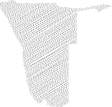 Namibia - pencil scribble sketch silhouette map of country area with dropped shadow. Simple flat vector illustration