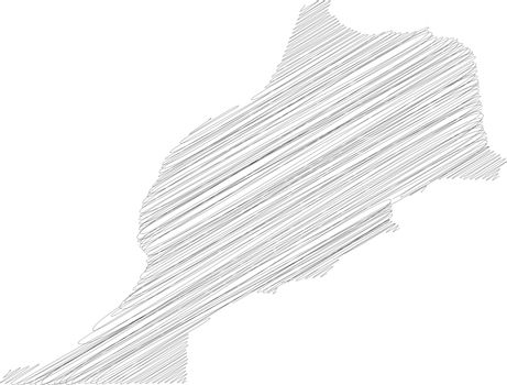 Morocco - pencil scribble sketch silhouette map of country area with dropped shadow. Simple flat vector illustration