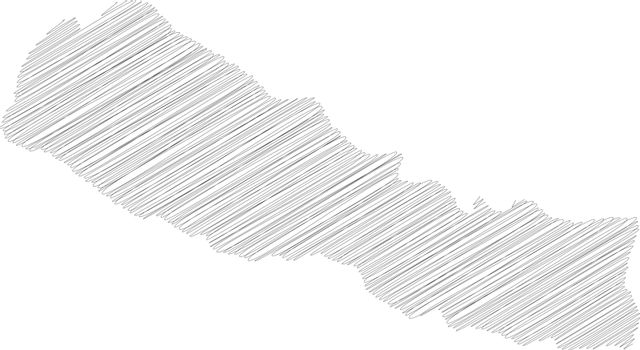Nepal - pencil scribble sketch silhouette map of country area with dropped shadow. Simple flat vector illustration