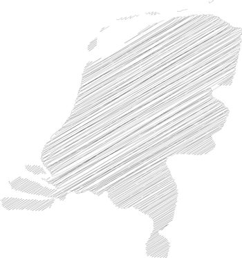 Netherlands, Holland - pencil scribble sketch silhouette map of country area with dropped shadow. Simple flat vector illustration