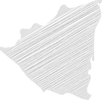 Nicaragua - pencil scribble sketch silhouette map of country area with dropped shadow. Simple flat vector illustration
