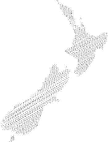 New Zealand - pencil scribble sketch silhouette map of country area with dropped shadow. Simple flat vector illustration