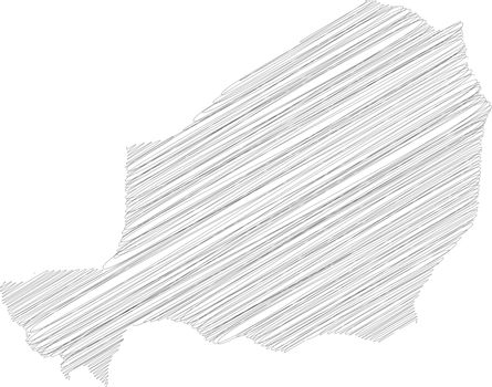 Niger - pencil scribble sketch silhouette map of country area with dropped shadow. Simple flat vector illustration