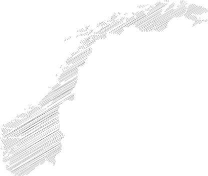 Norway - pencil scribble sketch silhouette map of country area with dropped shadow. Simple flat vector illustration