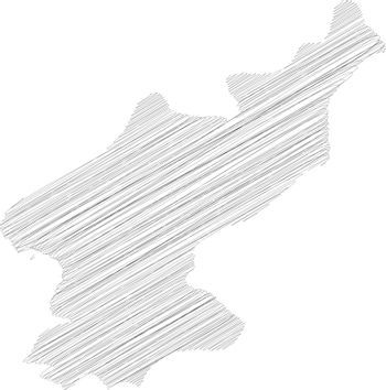 North Korea, Democratic Peoples Republic of Korea, DPRK - pencil scribble sketch silhouette map of country area with dropped shadow. Simple flat vector illustration