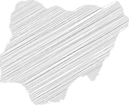 Nigeria - pencil scribble sketch silhouette map of country area with dropped shadow. Simple flat vector illustration