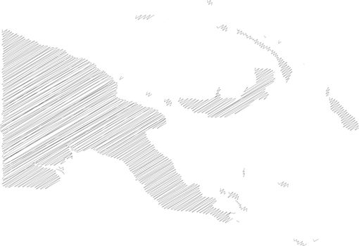 Papua New Guinea - pencil scribble sketch silhouette map of country area with dropped shadow. Simple flat vector illustration