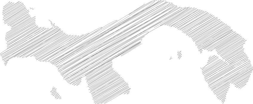 Panama - pencil scribble sketch silhouette map of country area with dropped shadow. Simple flat vector illustration