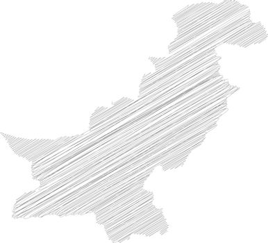 Pakistan - pencil scribble sketch silhouette map of country area with dropped shadow. Simple flat vector illustration