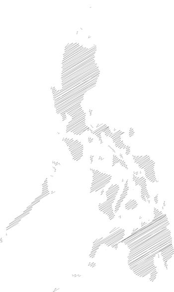 Philippines - pencil scribble sketch silhouette map of country area with dropped shadow. Simple flat vector illustration