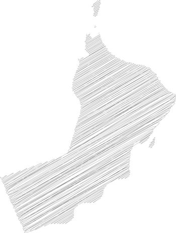 Oman - pencil scribble sketch silhouette map of country area with dropped shadow. Simple flat vector illustration