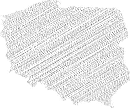 Poland - pencil scribble sketch silhouette map of country area with dropped shadow. Simple flat vector illustration