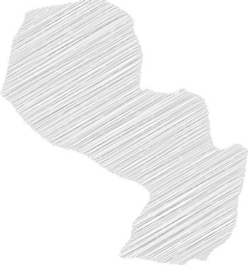 Paraguay - pencil scribble sketch silhouette map of country area with dropped shadow. Simple flat vector illustration