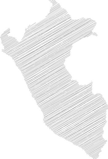 Peru - pencil scribble sketch silhouette map of country area with dropped shadow. Simple flat vector illustration