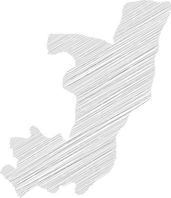 Republic of the Congo, former Zaire - pencil scribble sketch silhouette map of country area with dropped shadow. Simple flat vector illustration