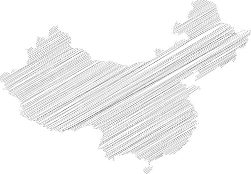 China - pencil scribble sketch silhouette map of country area with dropped shadow. Simple flat vector illustration