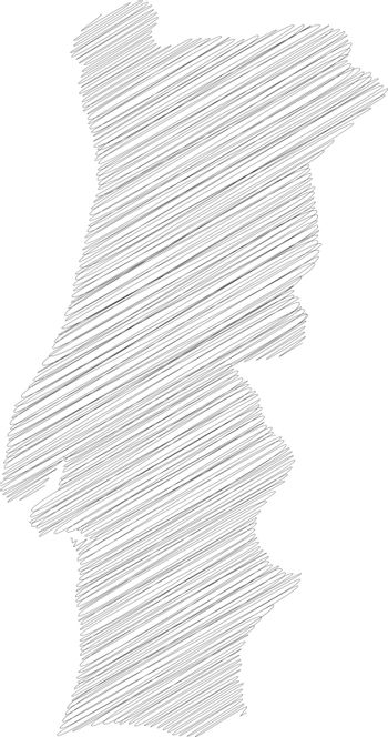 Portugal - pencil scribble sketch silhouette map of country area with dropped shadow. Simple flat vector illustration