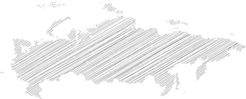 Russia - solid black silhouette map of country area. Simple flat vector illustration