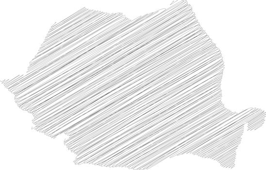 Romania - pencil scribble sketch silhouette map of country area with dropped shadow. Simple flat vector illustration