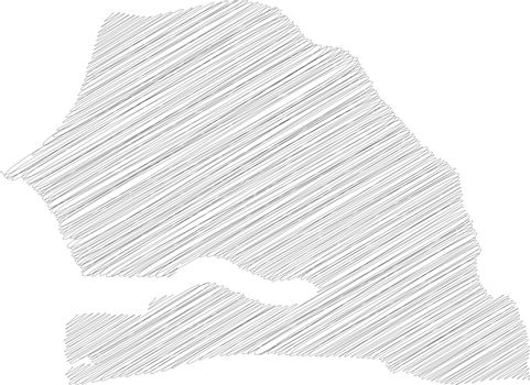 Senegal - solid black silhouette map of country area. Simple flat vector illustration