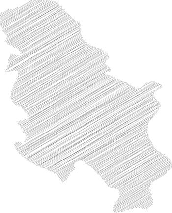 Serbia - solid black silhouette map of country area. Simple flat vector illustration