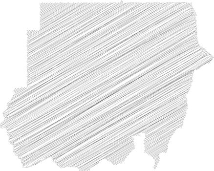 Sudan - pencil scribble sketch silhouette map of country area with dropped shadow. Simple flat vector illustration