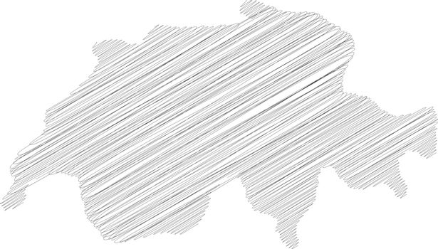 Switzerland - pencil scribble sketch silhouette map of country area with dropped shadow. Simple flat vector illustration