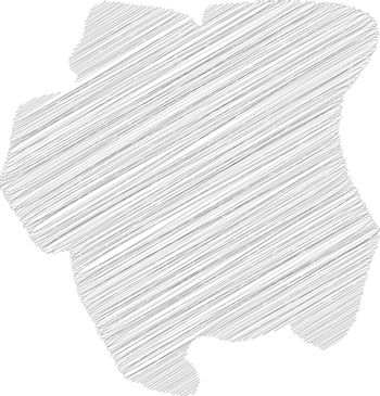 Surinam - pencil scribble sketch silhouette map of country area with dropped shadow. Simple flat vector illustration