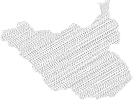 South Sudan - solid black silhouette map of country area. Simple flat vector illustration