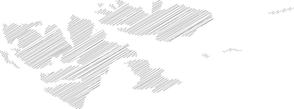 Svalbard islands - pencil scribble sketch silhouette map of country area with dropped shadow. Simple flat vector illustration