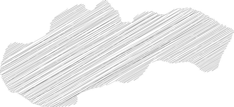 Slovakia - pencil scribble sketch silhouette map of country area with dropped shadow. Simple flat vector illustration